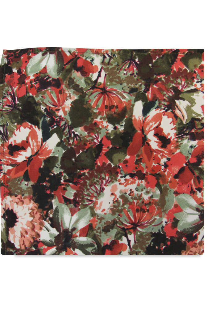 The Seren Red Floral Pocket Square