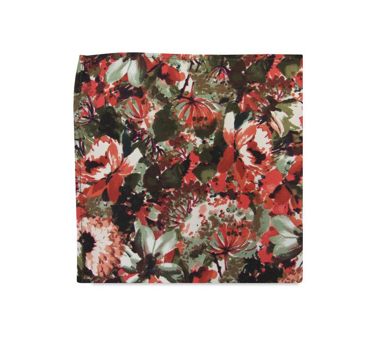 The Seren Red Floral Pocket Square