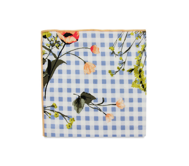 The Esma Light Blue Floral Gingham Pocket Square