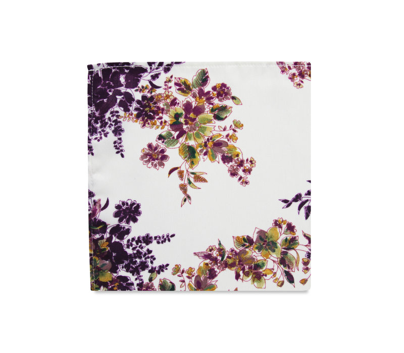 The Heidi White Floral Pocket Square