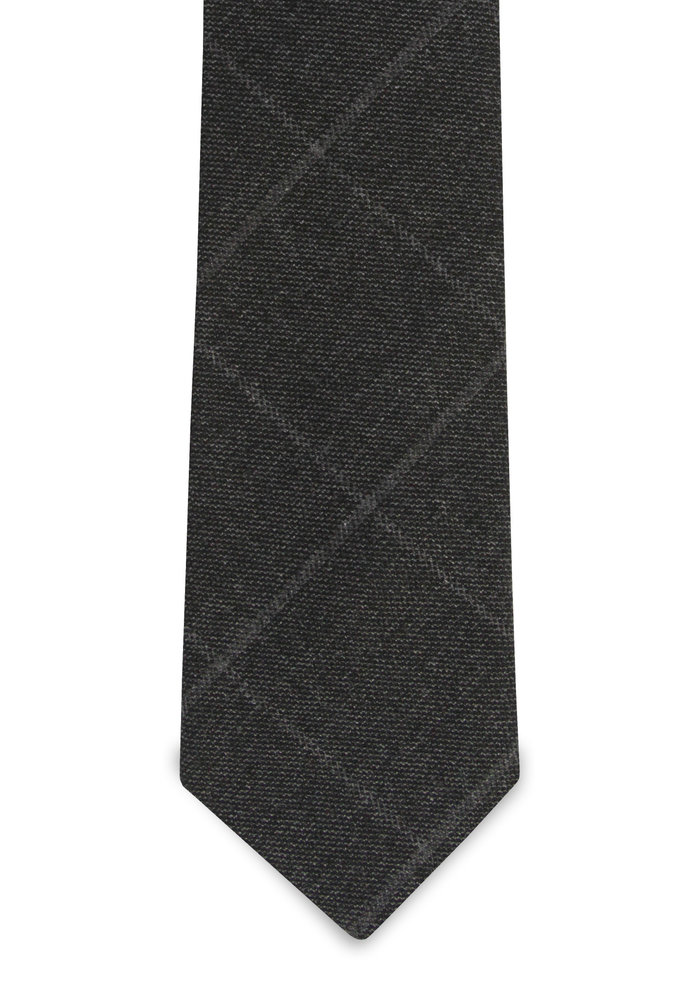 The Dufor Wool Charcoal Windowpane Tie