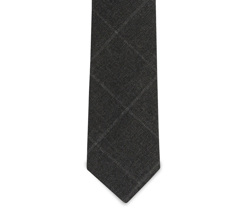 The Dufor Wool Charcoal Windowpane Tie