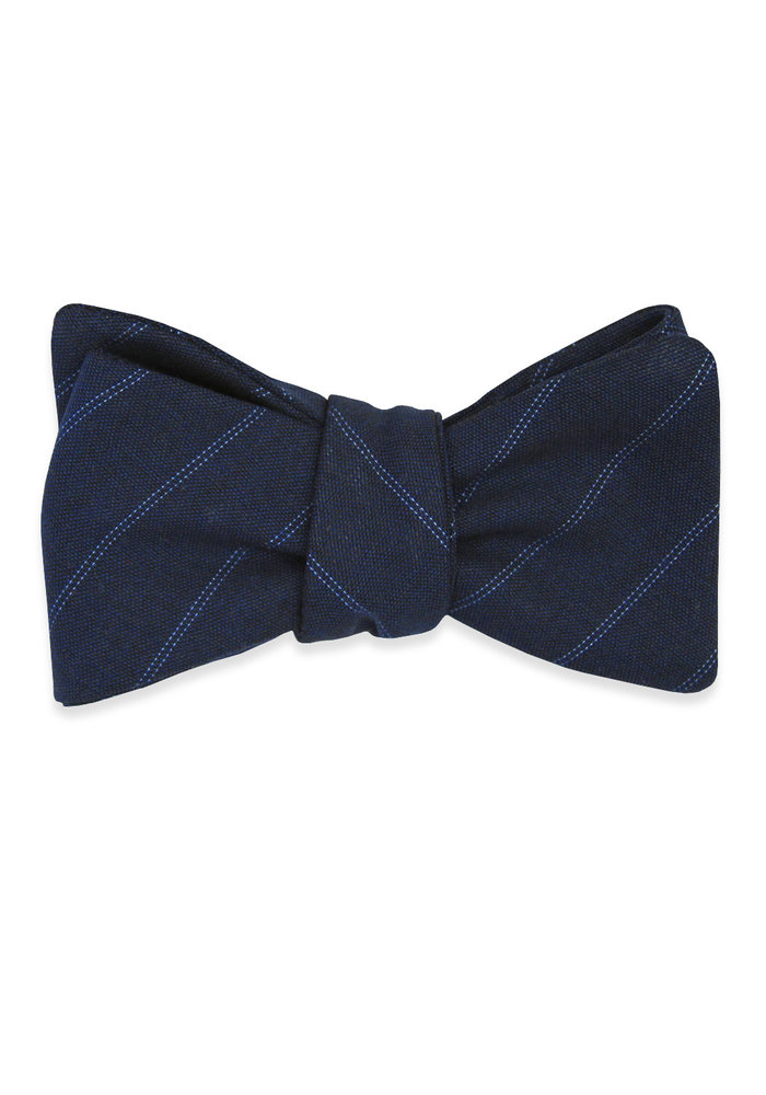 The Isaac Blue Pin Stripe Bow Tie