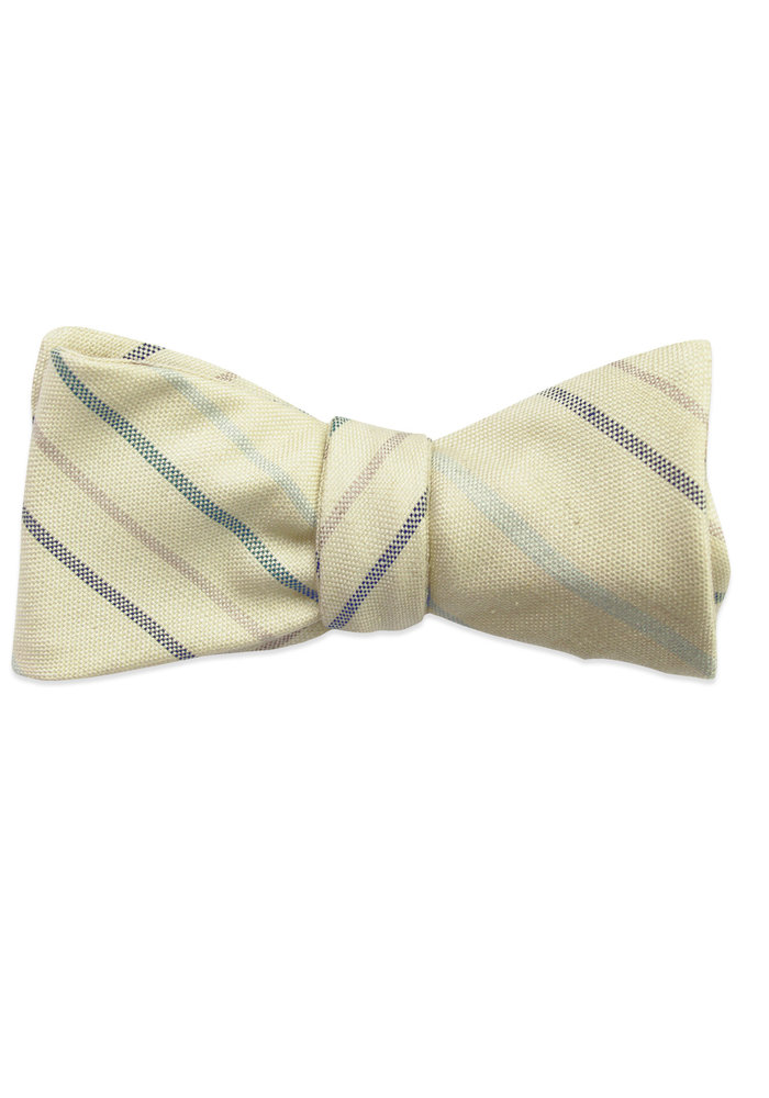 The Barret Light Yellow Striped Bow Tie