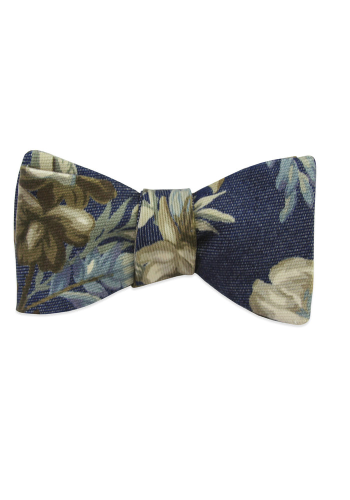 The Delia Denim Floral Bow Tie
