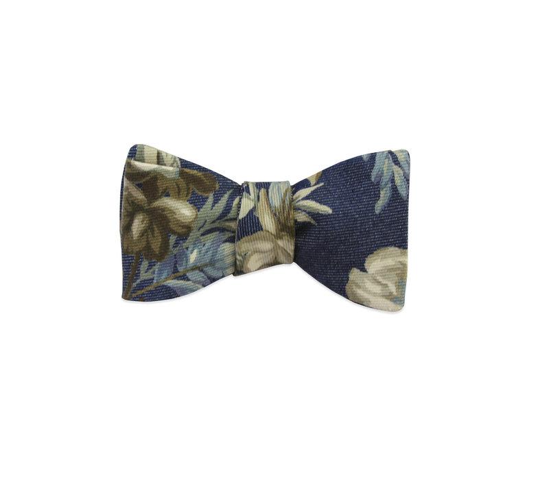 The Delia Denim Floral Bow Tie