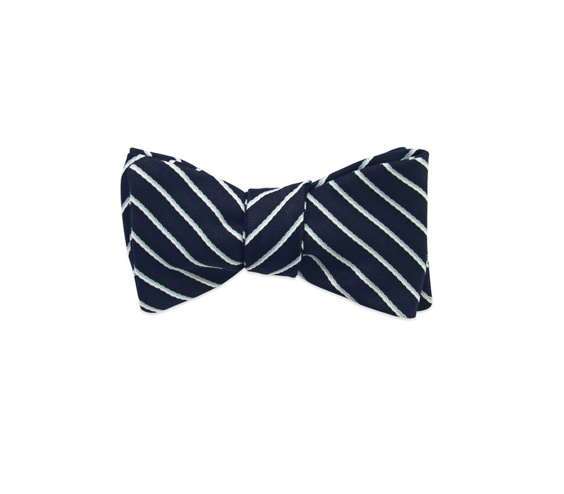 The Nelson Blue Striped Bow Tie