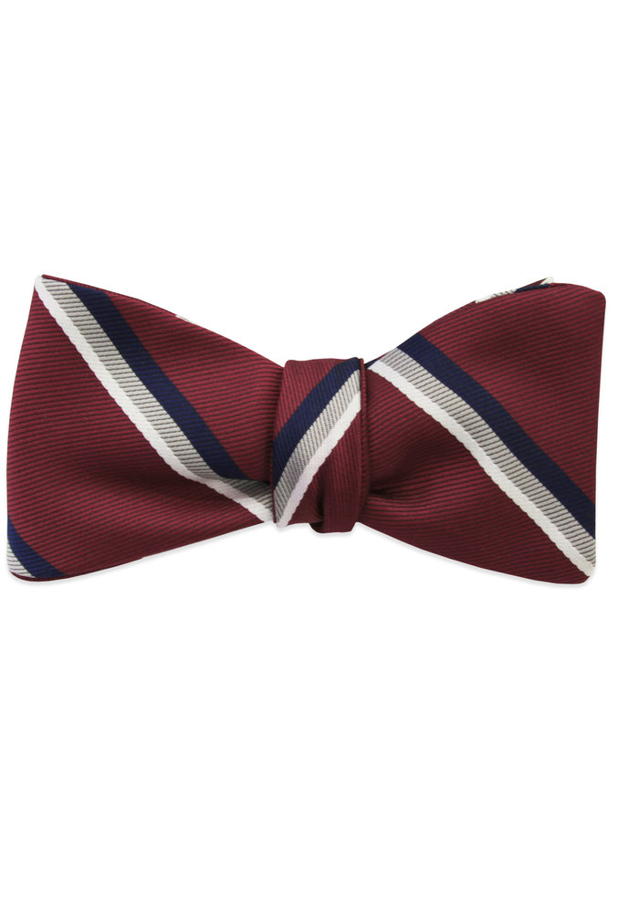 The Warren Red Striped Bow Tie