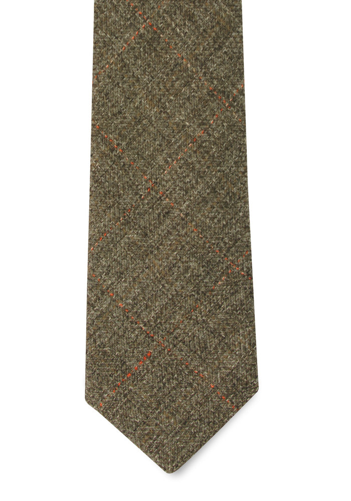 The Vale Olive Windowpane Tie
