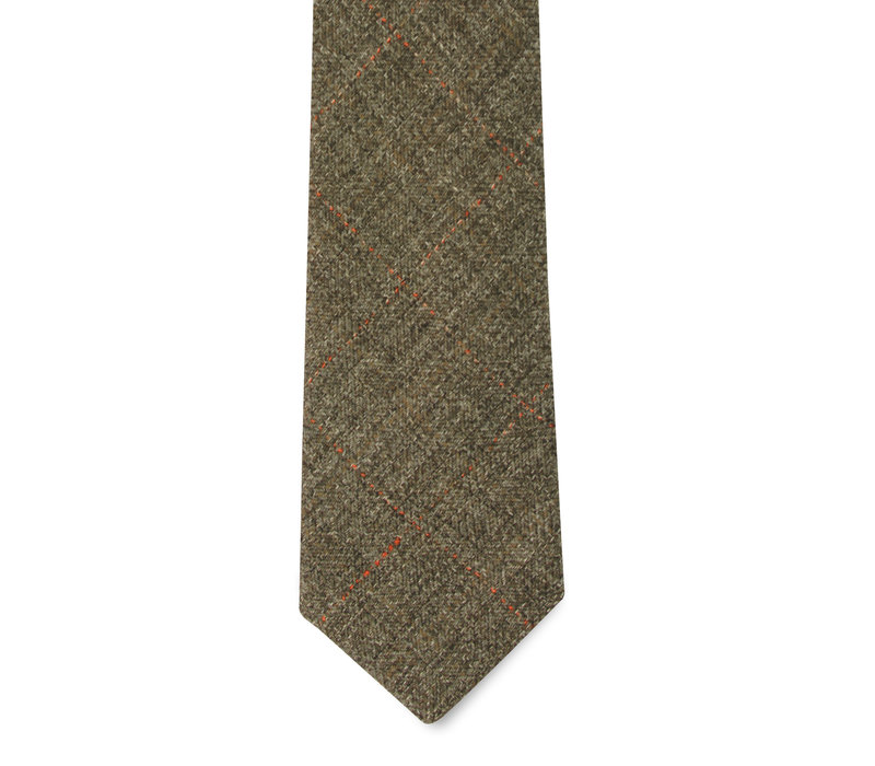 The Vale Olive Windowpane Tie