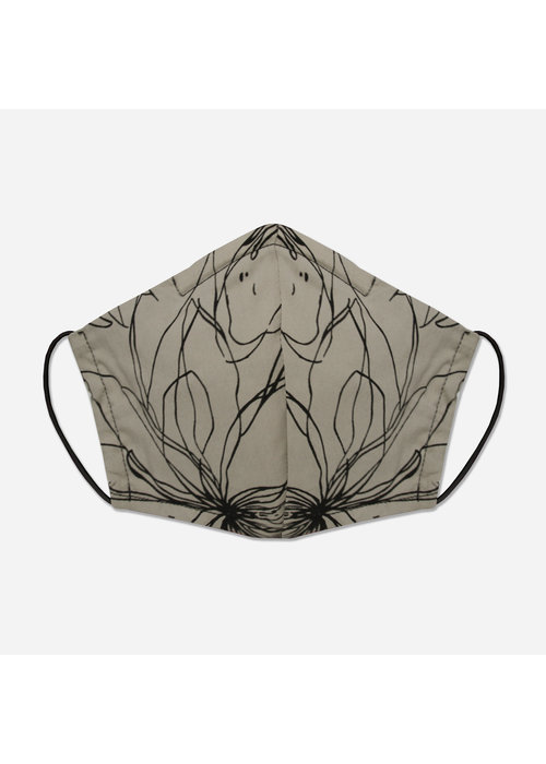 Pocket Square Clothing Unity Mask w/ Filter Pocket (Taupe/Floral)