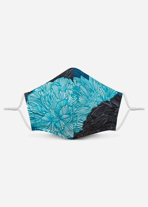 Pocket Square Clothing Unity Mask 2.0 w/ Filter Pocket (Teal Floral)