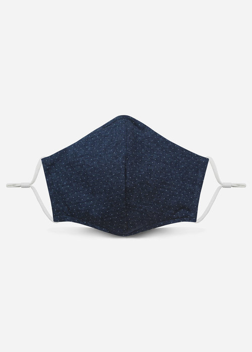 Pocket Square Clothing Unity Mask 2.0 w/ Filter Pocket (Navy Polka Dot)