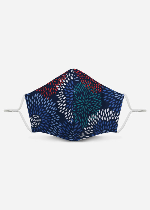 Pocket Square Clothing Unity Mask 2.0 w/ Filter Pocket (Blue Abstract Floral)