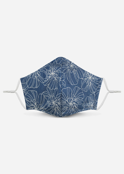 Pocket Square Clothing Unity Mask 2.0 w/ Filter Pocket (Chambray/Floral)