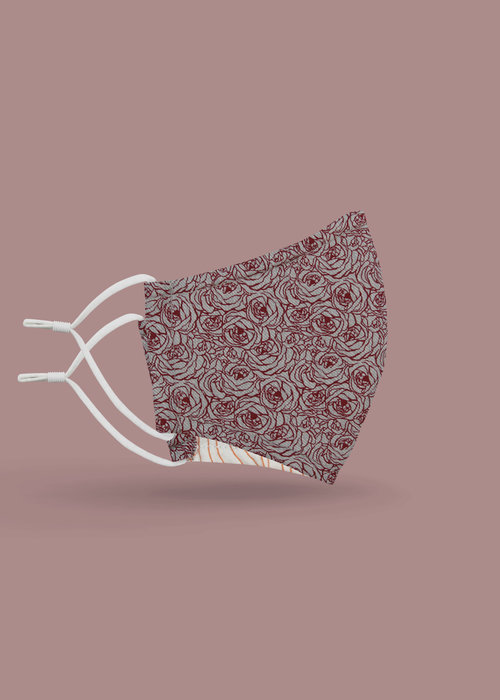 Pocket Square Clothing Children's Unity Mask 2.0 w/ Filter Pocket (Maroon Floral)