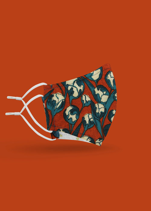 Pocket Square Clothing Children's Unity Mask 2.0 w/ Filter Pocket (Orange Floral)