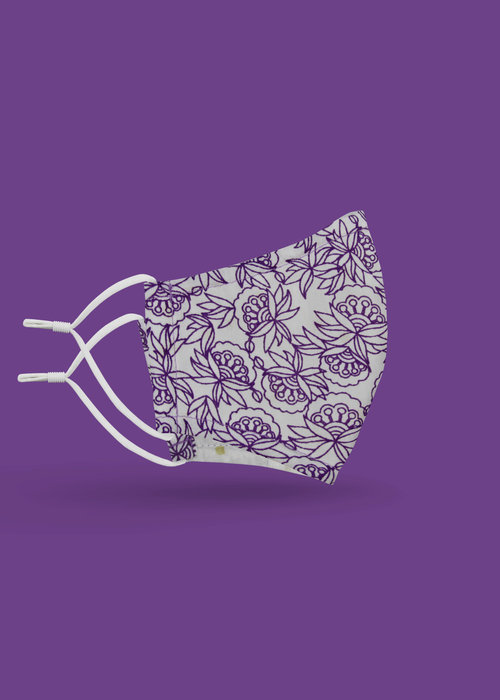 Pocket Square Clothing Children's Unity Mask 2.0 w/ Filter Pocket (Purple Flower)
