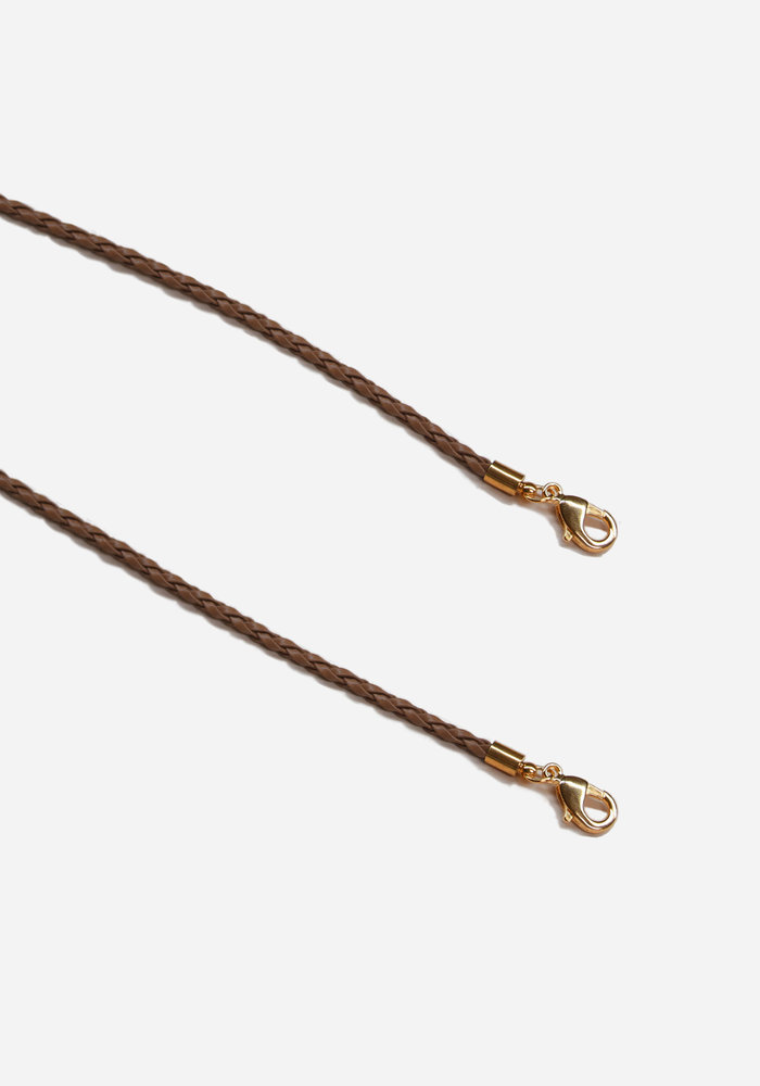 Face Mask - Tan Leather Chain