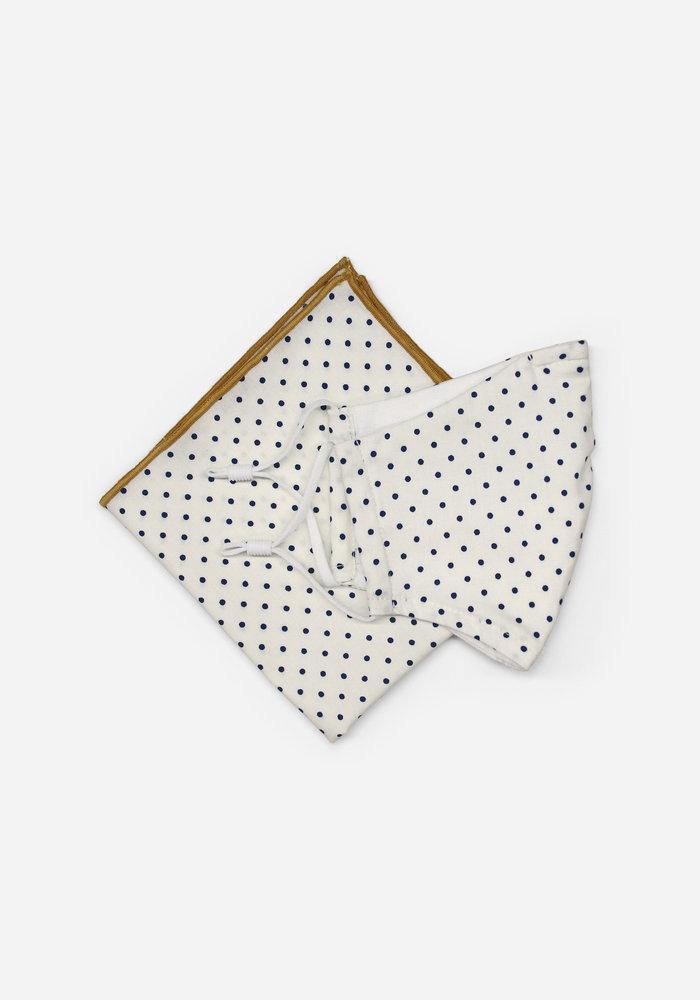 Off White Polka Dot Mask Pocket Square Set