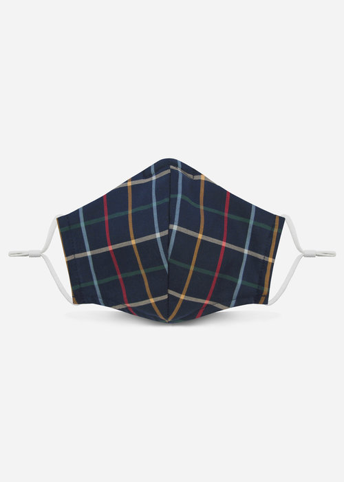 Pocket Square Clothing 2.0 Unity Mask w/ Filter Pocket (Navy Windowpane)