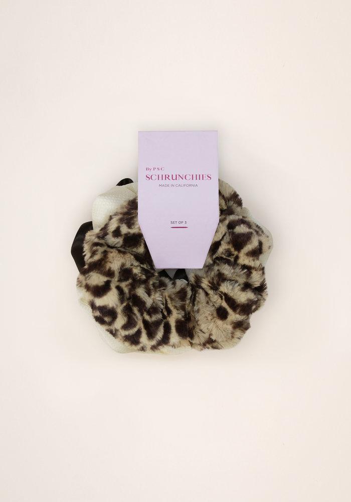 By PSC - Plush Leopard Scrunchies Set