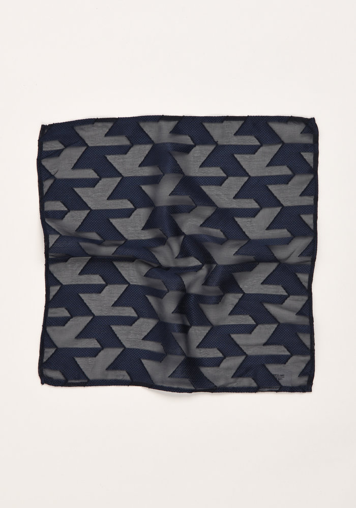 The Grais Navy Blue Geometric Pocket Square