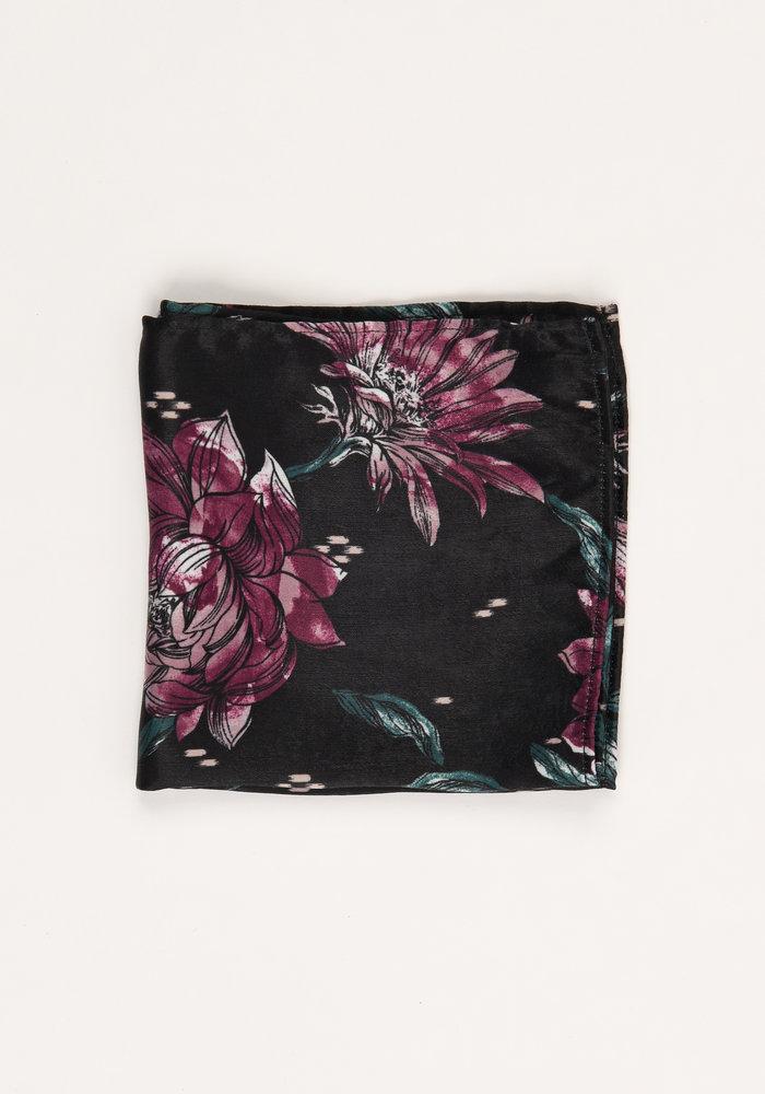 The Mabel Black Floral Pocket Square