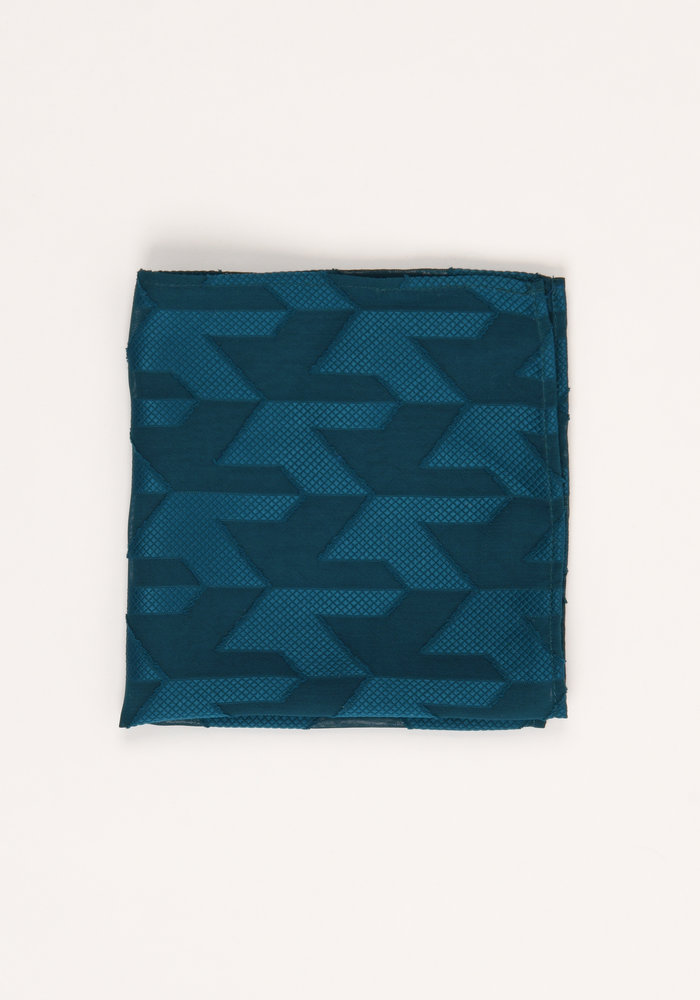The Noah Teal Geometric Pocket Square