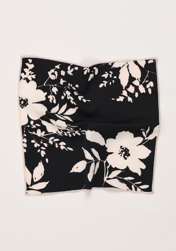 The Dalia Black Floral Pocket Square
