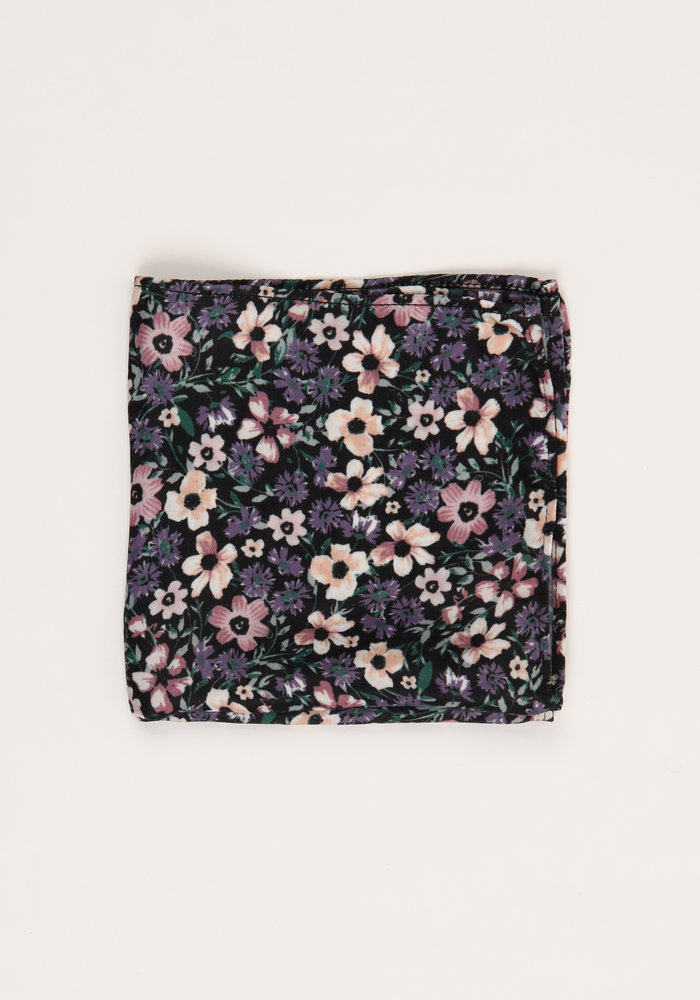 The Emily Black Floral Pocket Square