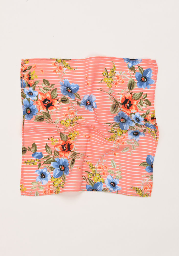 The Penelope Peach Striped Floral Pocket Square