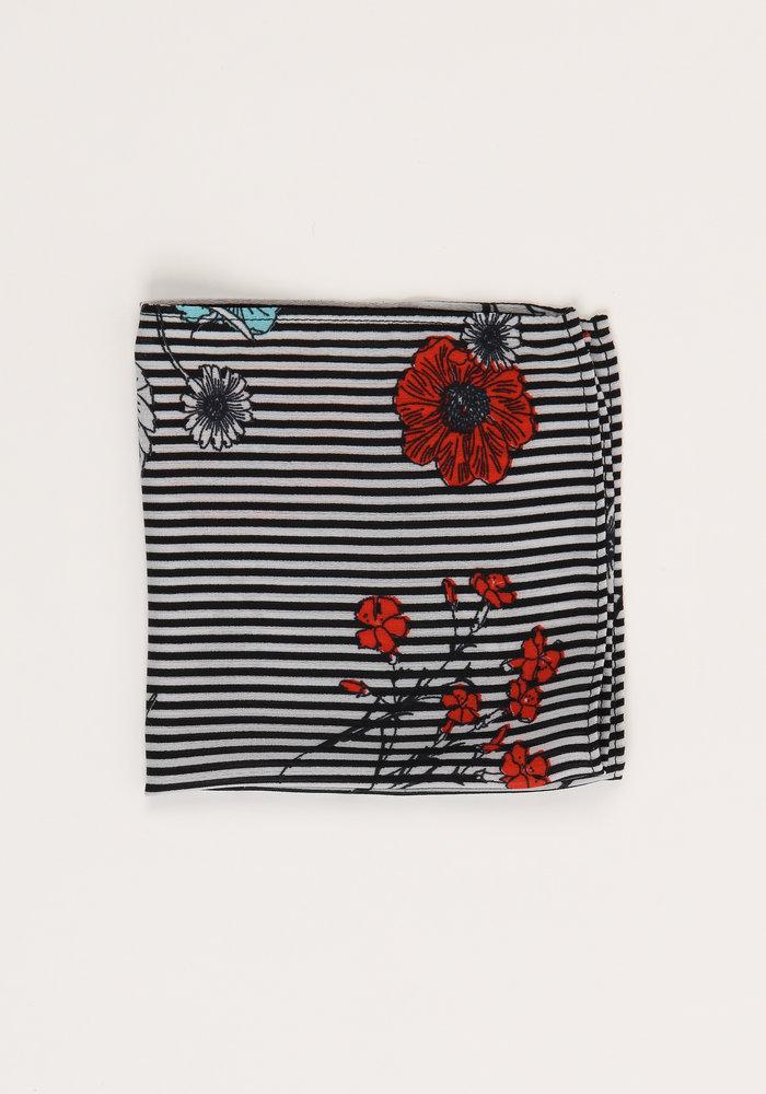 The Martina Striped Floral Pocket Square