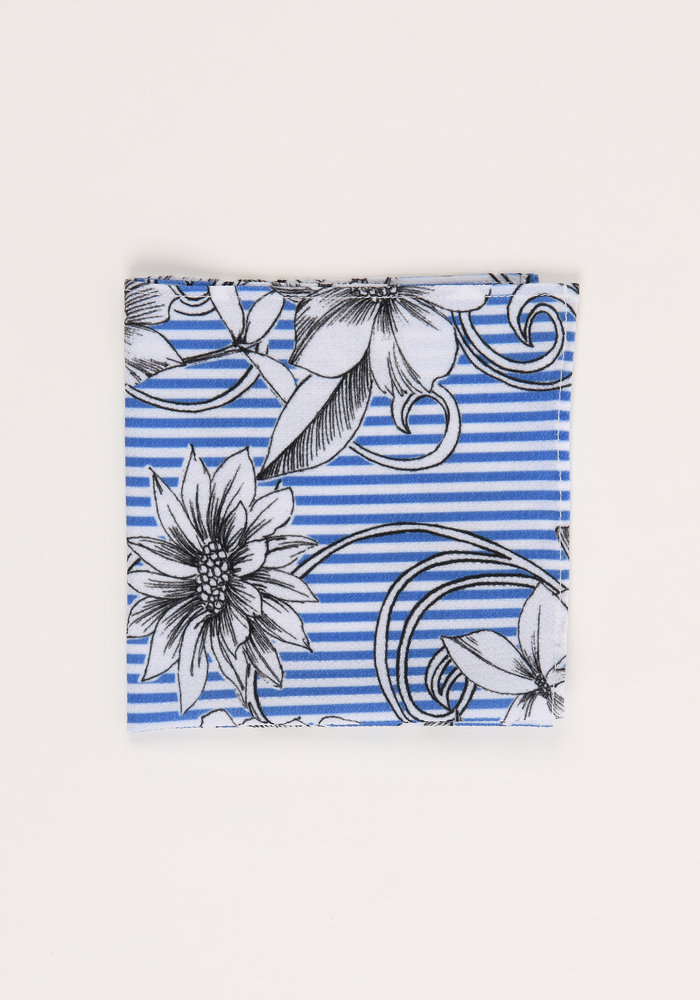 The Abigail Striped Floral Pocket Square