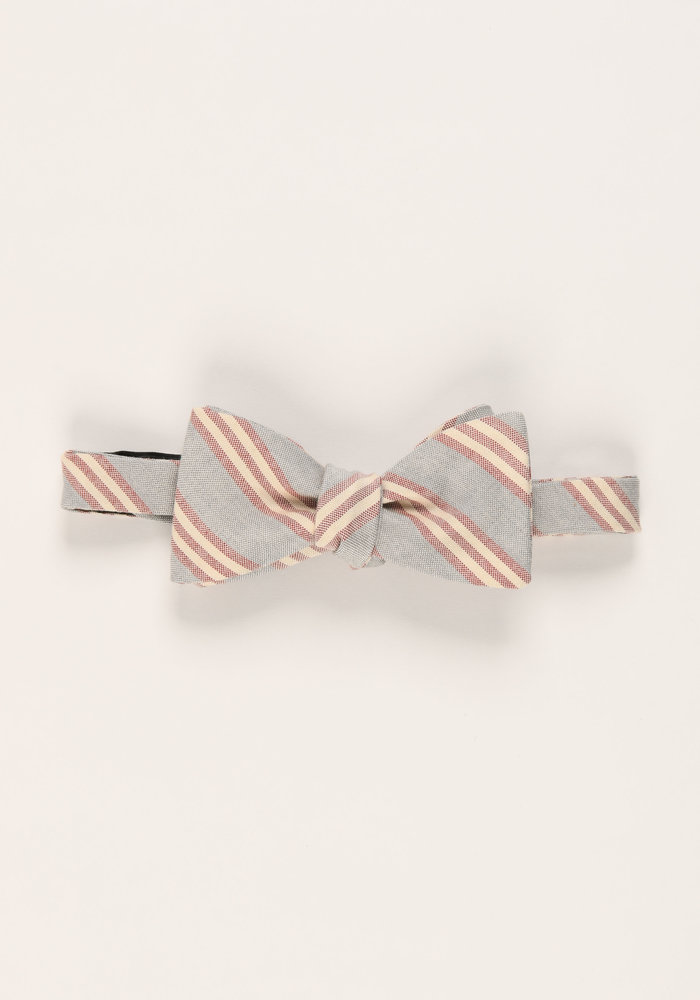 The Cyrus Gray Stripe Bow Tie