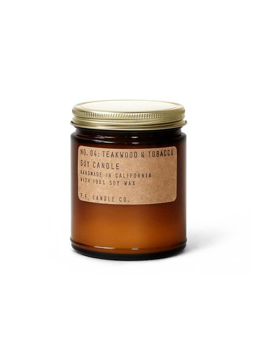 P.F. Candle Co. No. 04 Teakwood & Tobacco 7.2 oz Soy Candle