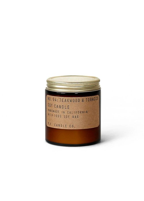 P.F. Candle Co. 04 Teakwood & Tobacco 3.5 oz Mini Soy Candle