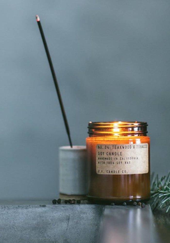P.F. Candle Co. -  04 Teakwood & Tobacco 3.5 oz Soy Candle