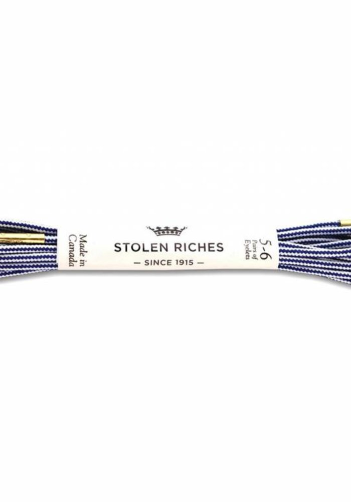 Stolen Rchies - Navy Blue and White Striped Shoe Laces - Gold Tips