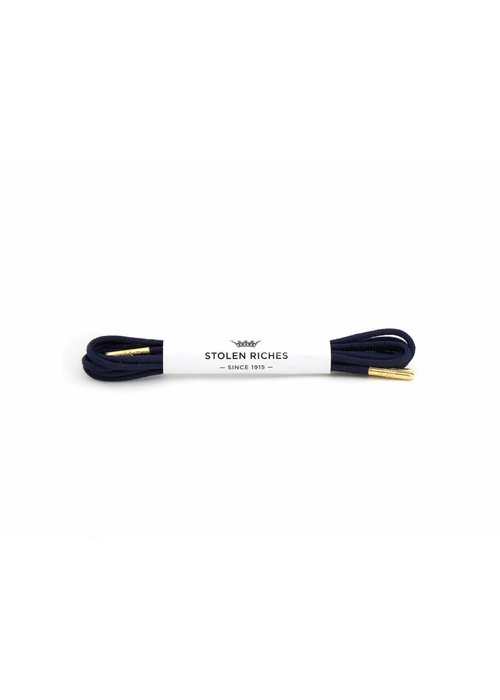 Stolen Riches Navy Blue Shoe Laces - Gold Tips