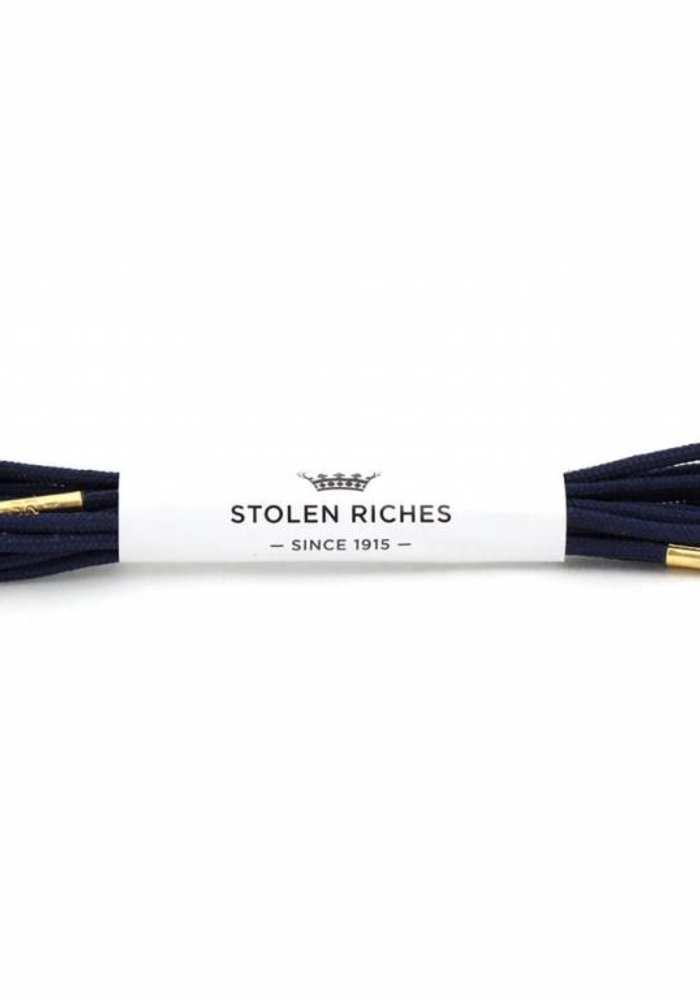 Stolen Riches - Navy Blue Shoe Laces - Gold Tips