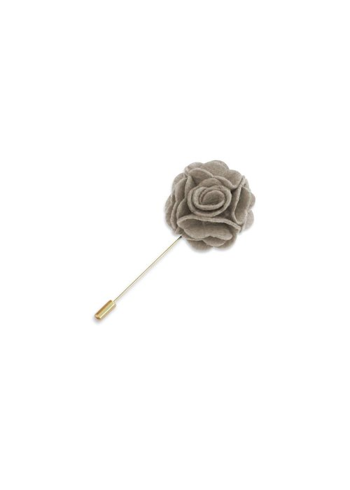 Pocket Square Clothing Taupe Floral Lapel Pin