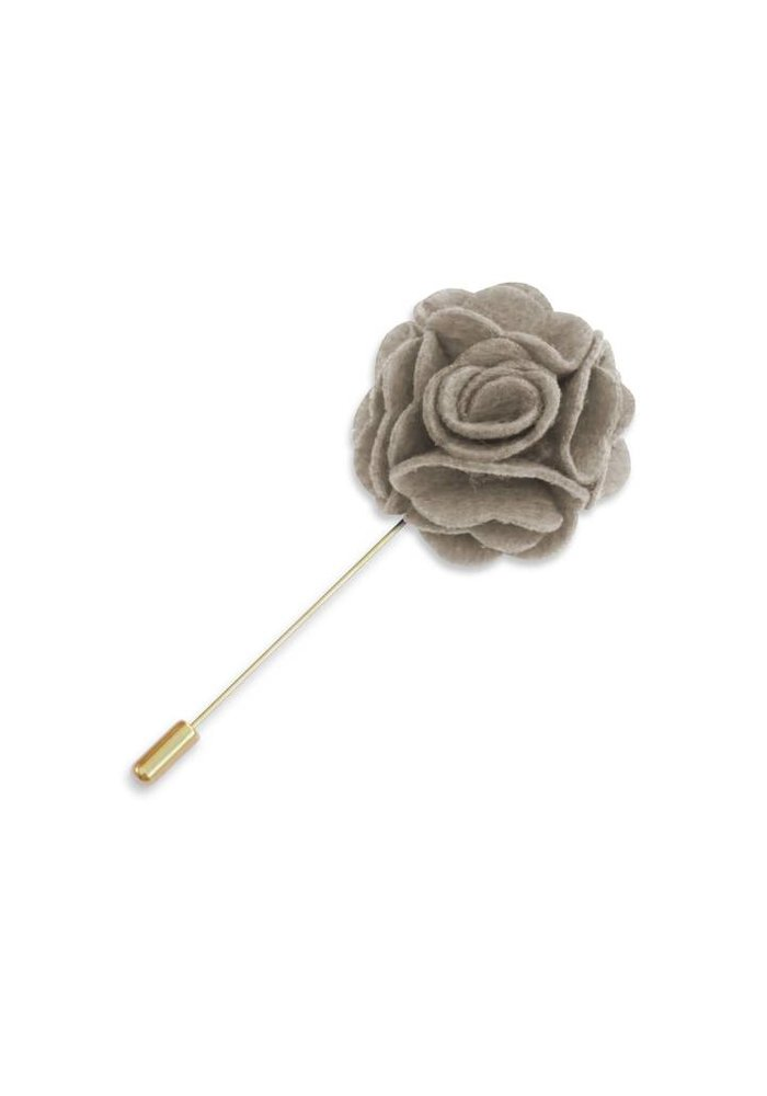 Taupe Floral Lapel Pin