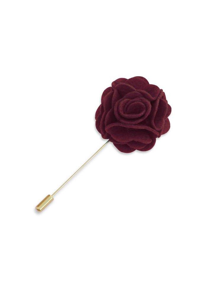 Maroon Floral Lapel Pin