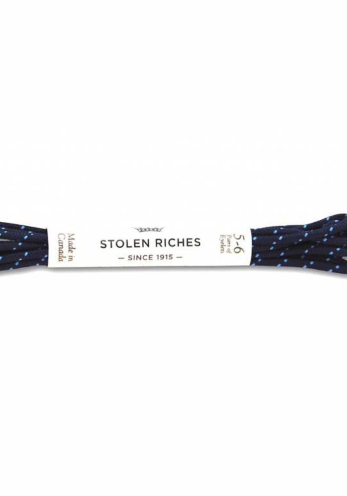 Stolen Riches - Navy/ Blue Polkadot Shoe Laces - Silver Tips