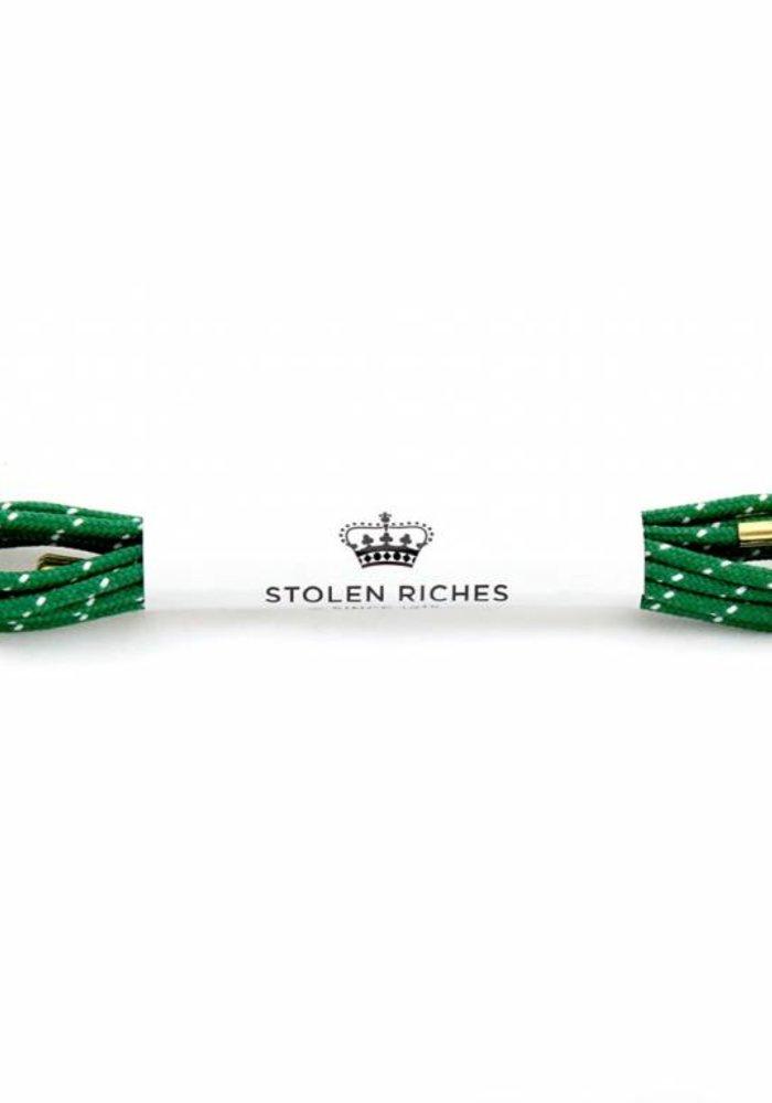 Stolen Riches - Green / White Polkadot Shoe Laces - Gold Tips