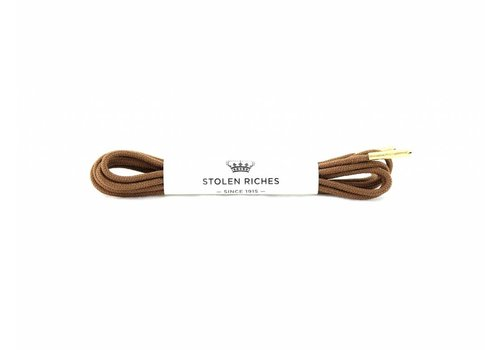 Stolen Riches Light Brown Shoe Laces - Gold Tips