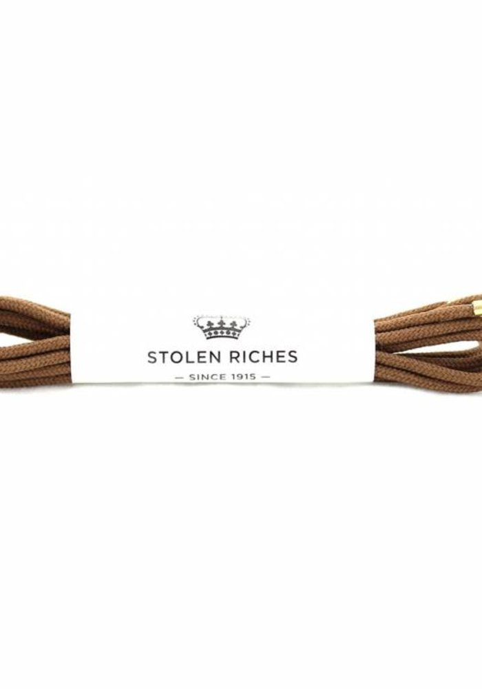 Stolen Riches - Light Brown Shoe Laces - Gold Tips