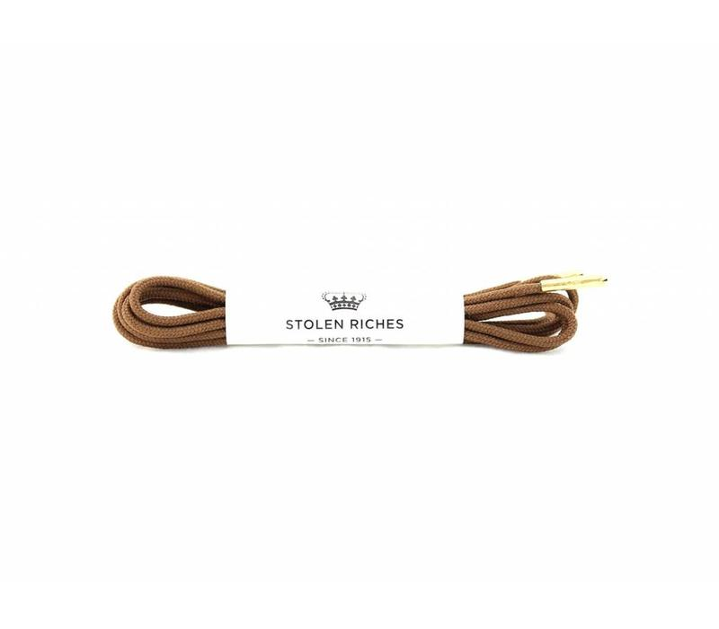 Stolen Riches - Light Brown Shoe Laces - Gold Tips