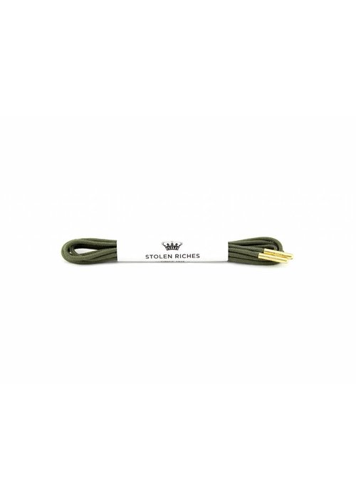 Stolen Riches Olive Shoe Laces - Gold Tips